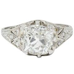 Art Deco 3.16 Carat Old Cushion Cut Diamond Platinum Engagement Ring GIA