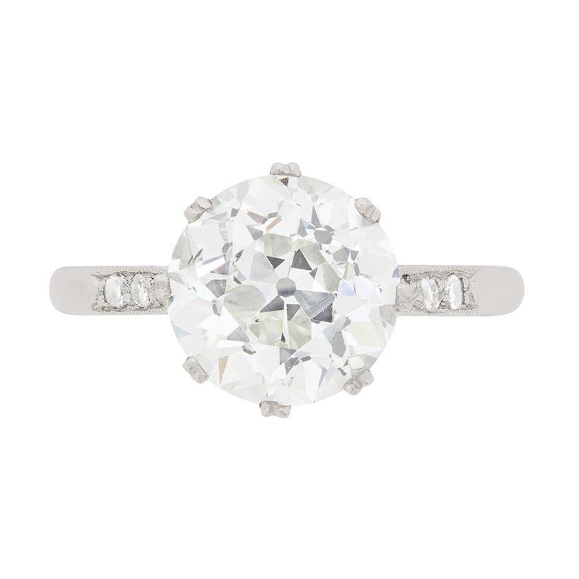 Art Deco 3.18 Carat Diamond Solitaire Engagement Ring, circa 1930s