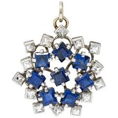 Art Deco 3.18 Carat Sapphire Diamond Platinum Starburst Pendant