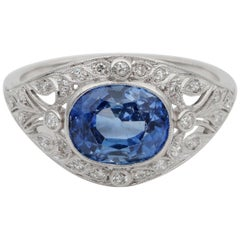 Art Deco 3.20 Carat Vivid Cornflower Blue Natural Sapphire Diamond Ring