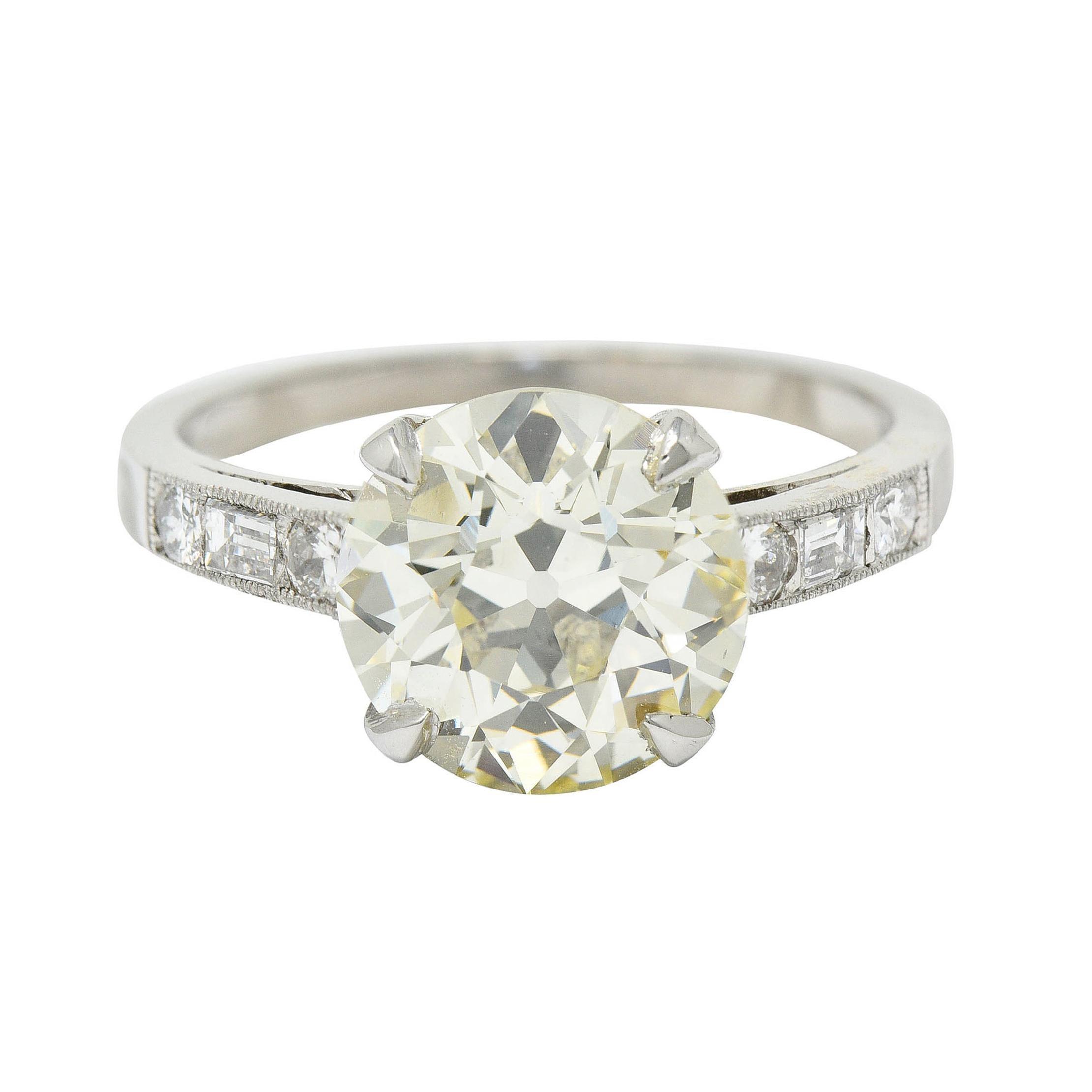 Art Deco 3.20 Carats Old European Diamond Platinum Engagement Ring GIA, 1930's