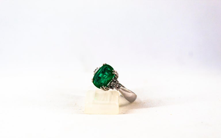 Art Deco Style 3.22 Carat Emerald 0.36 Carat Diamond White Gold Cocktail Ring For Sale 6