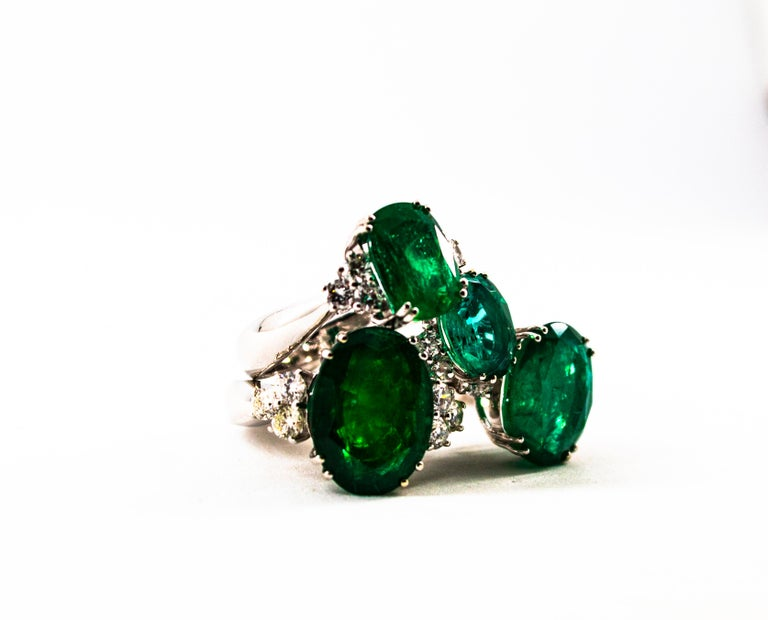 Art Deco Style 3.22 Carat Emerald 0.36 Carat Diamond White Gold Cocktail Ring For Sale 8