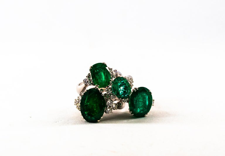 Art Deco Style 3.22 Carat Emerald 0.36 Carat Diamond White Gold Cocktail Ring For Sale 9