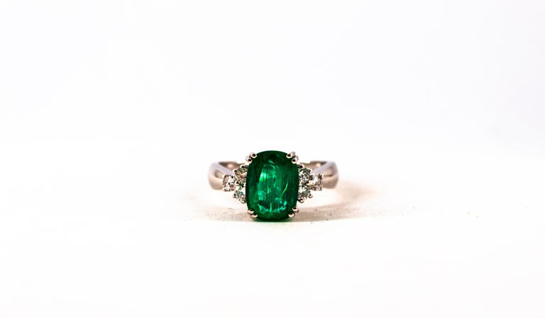 Art Deco Style 3.22 Carat Emerald 0.36 Carat Diamond White Gold Cocktail Ring For Sale 10