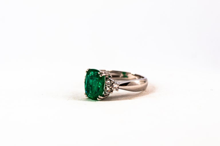 Art Deco Style 3.22 Carat Emerald 0.36 Carat Diamond White Gold Cocktail Ring For Sale 11