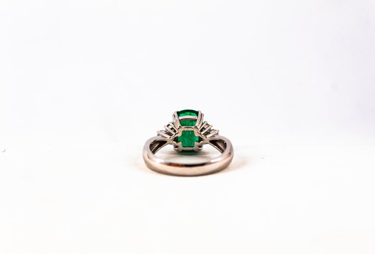 Art Deco Style 3.22 Carat Emerald 0.36 Carat Diamond White Gold Cocktail Ring For Sale 13