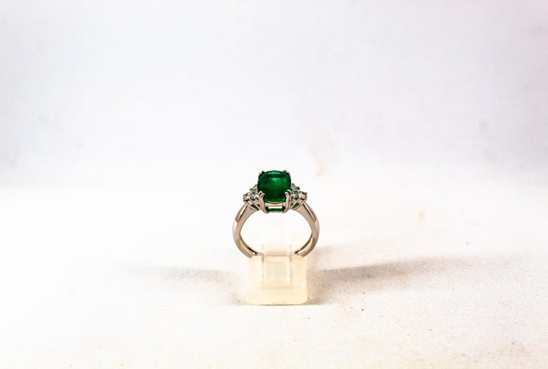 This Ring is made of 18K White Gold. This Ring has 0.36 Carats of White Modern Round Cut Diamonds. Color: H-G Clarity: VVS1 This Ring has a 3.22 Carats Natural Zambia Cushion Cut Emerald. This Ring is inspired by Art Deco. Size ITA: 14.5 USA: