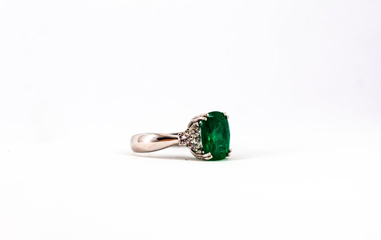 Art Deco Style 3.22 Carat Emerald 0.36 Carat Diamond White Gold Cocktail Ring For Sale 15
