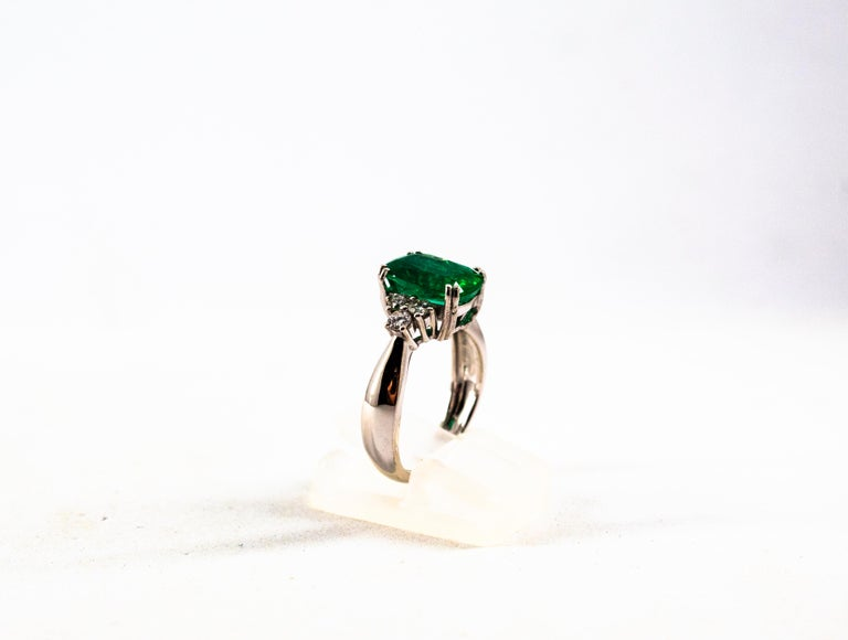 Art Deco Style 3.22 Carat Emerald 0.36 Carat Diamond White Gold Cocktail Ring For Sale 1