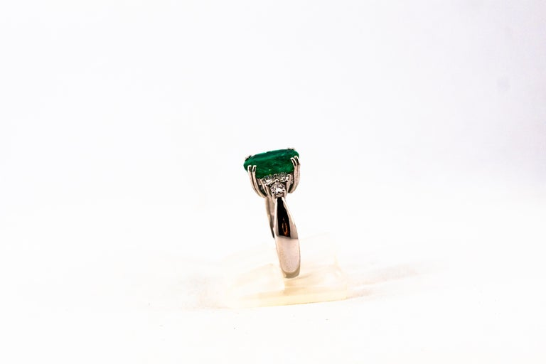 Art Deco Style 3.22 Carat Emerald 0.36 Carat Diamond White Gold Cocktail Ring For Sale 4