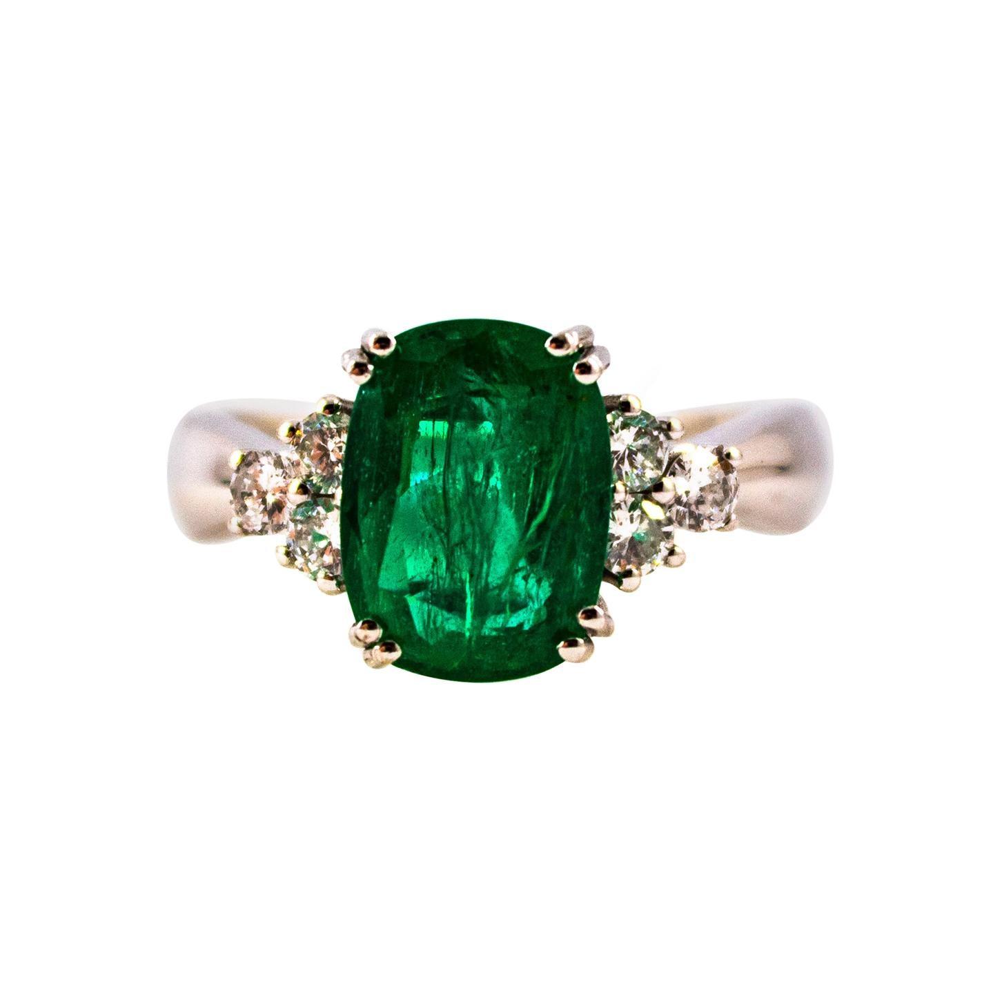 Art Deco Style 3.22 Carat Emerald 0.36 Carat Diamond White Gold Cocktail Ring