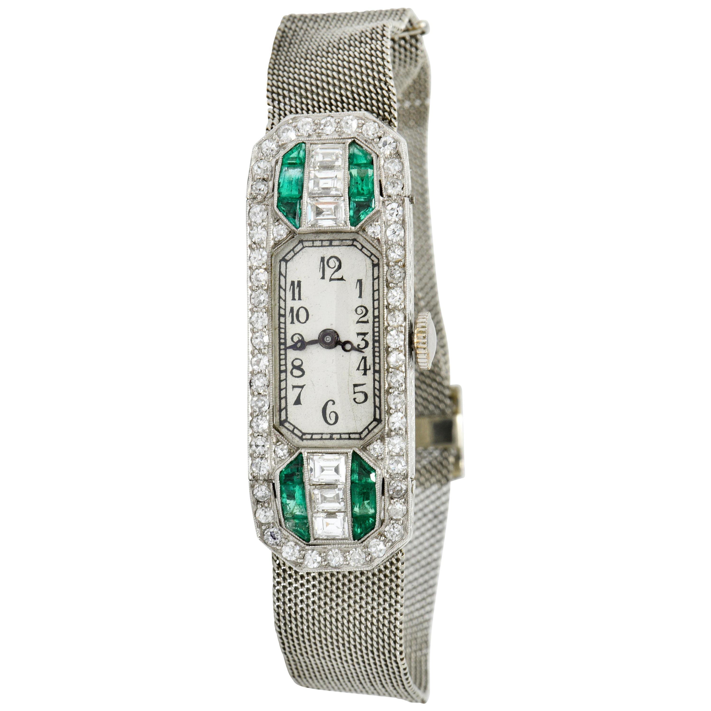 Art Deco 3.27 Carats Emerald Diamond Platinum 18 Karat White Gold Buckle Watch B
