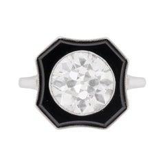 Art Deco 3.30 Carat Diamond and Onyx Ring, circa 1920s