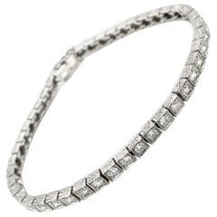 Art Deco 3.30 Carat Diamond Engraved Tennis Bracelet