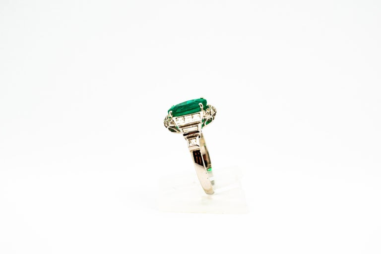 Women's or Men's Art Deco Style 3.30 Carat Emerald 0.90 Carat White Diamond White Cocktail Ring For Sale