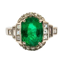Art Deco Style 3.30 Carat Emerald 0.90 Carat White Diamond White Cocktail Ring