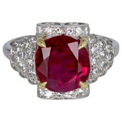 Art Deco 3.43 Carat Burma Ruby Diamond Cocktail Ring