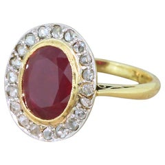 Art Deco 3.43 Carat Ruby and Rose Cut Diamond Cluster Ring