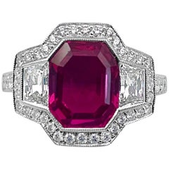 Art Deco Style 3.43 Carat AGL Certified Pink Sapphire Ring, 18 KT White Gold