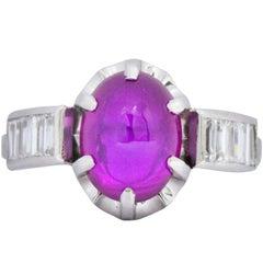 Art Deco 3.45 Carats No Heat Burma Star Ruby Cabochon Diamond Platinum Ring