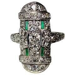 Art Deco 35 Diamond Emerald Platinum Wedding Engagement Ring Edwardian Bow Motif