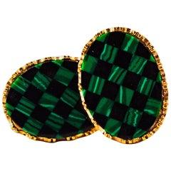 Art Deco Style 3.50 Carat Citrine Malachite Yellow Gold Cufflinks