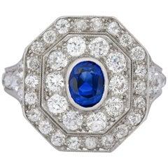 Art Deco 3.50 Carats No Heat Sapphire European Cut Diamond Platinum Halo Ring