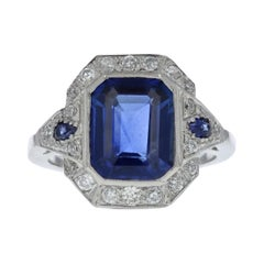 Art Deco Style 3.55 Emerald Cut Blue Sapphire and Diamond Ring