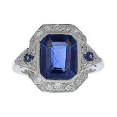 Art Deco 3.55 Emerald Cut Blue Sapphire and Diamond Ring