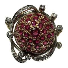 Art Deco 3.60 Carat Rubies White Diamond 18 Karat Yellow Gold White Gold Ring