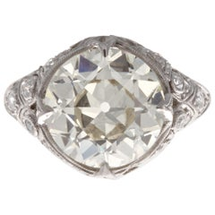 Art Deco 3.62 Carat Old European Cut Diamond Platinum Engagement Ring