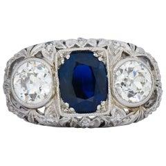 Art Deco 3.70 Carat No Heat Sapphire Diamond Platinum Anniversary Ring AGL