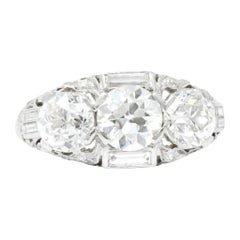Art Deco 3.75 Carat Diamond Platinum Three-Stone Band Ring GIA