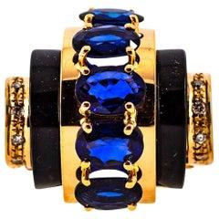 Art Deco Style 3.75 Carat White Diamond Blue Sapphire Onyx Yellow Gold Ring