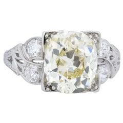 Art Deco 3.80 Carat Old Mine Diamond Platinum Engagement Ring