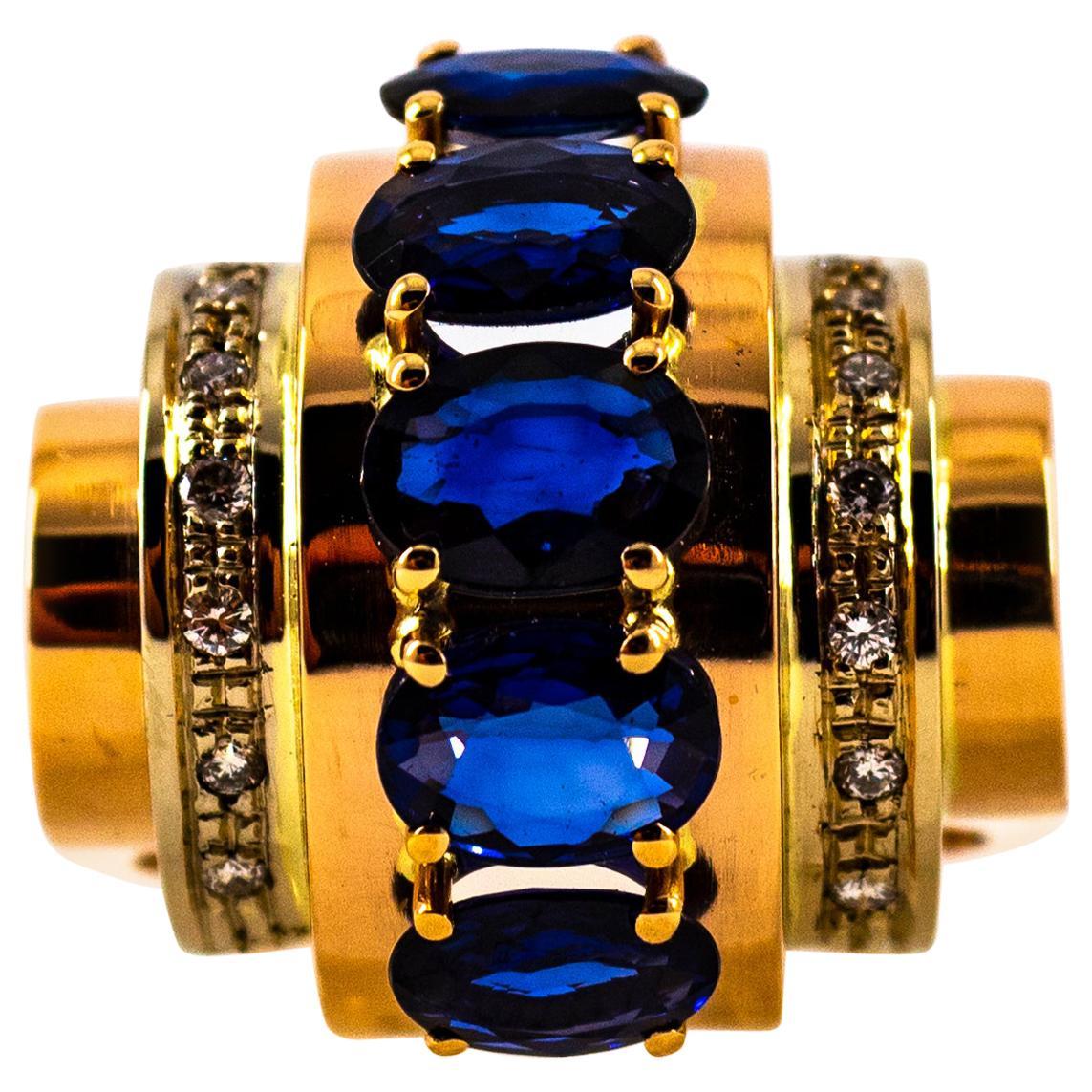 Art Deco Style 3.80 Carat White Diamond Blue Sapphire Yellow Gold Cocktail Ring