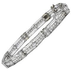 Art Deco 3.85 Carat Old European Diamond Platinum Fancy Link Bracelet