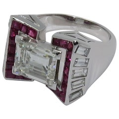 Art Deco 3.90 Carat Emerald Cut Diamond Ruby Platinum Ring