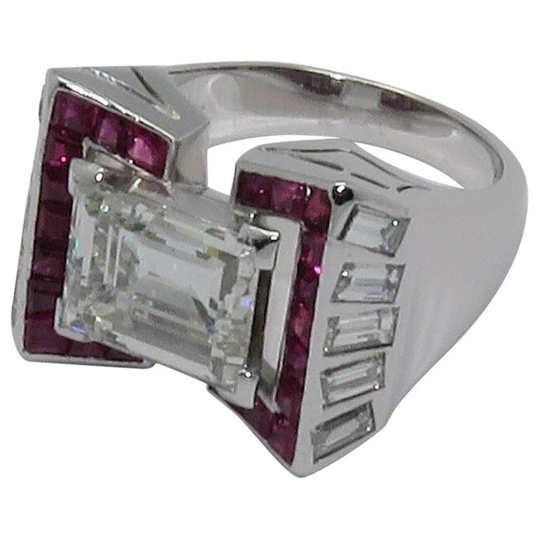 Art Deco 3.90 Carat Emerald Cut Diamond Ruby Platinum Ring For Sale
