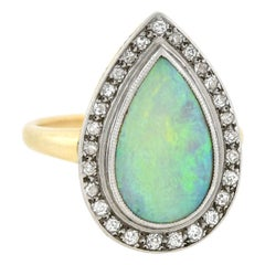 Art Deco 3Ctw Teardrop Opal and Diamond Ring