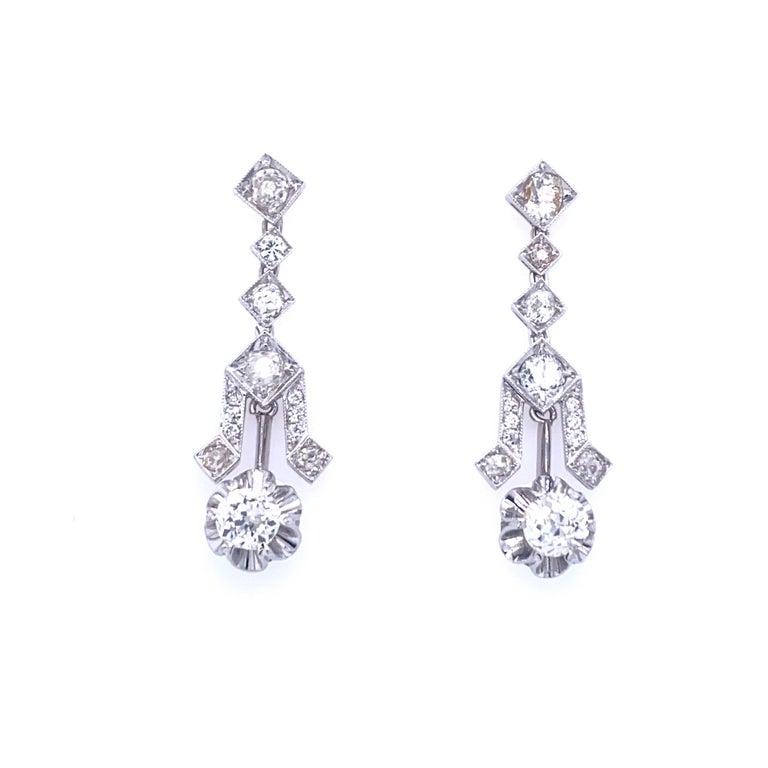 Old Mine Cut Art Deco 4 Carat Diamond Gold Drop Earrings For Sale