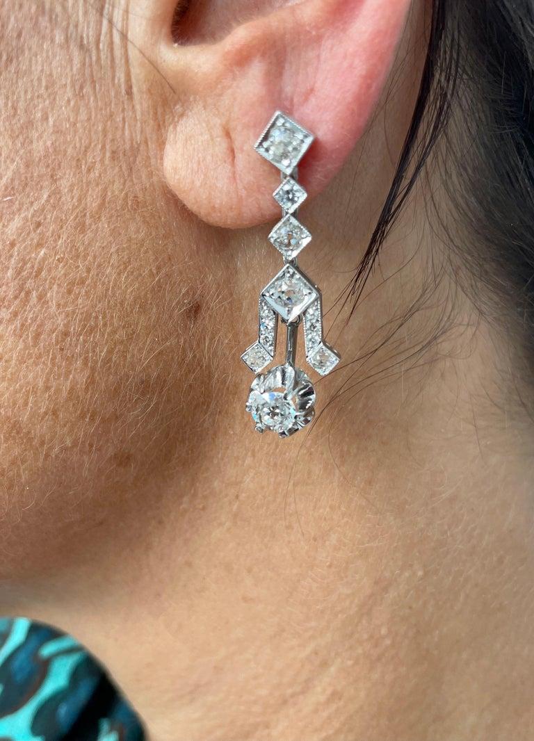 Women's Art Deco 4 Carat Diamond Gold Drop Earrings For Sale