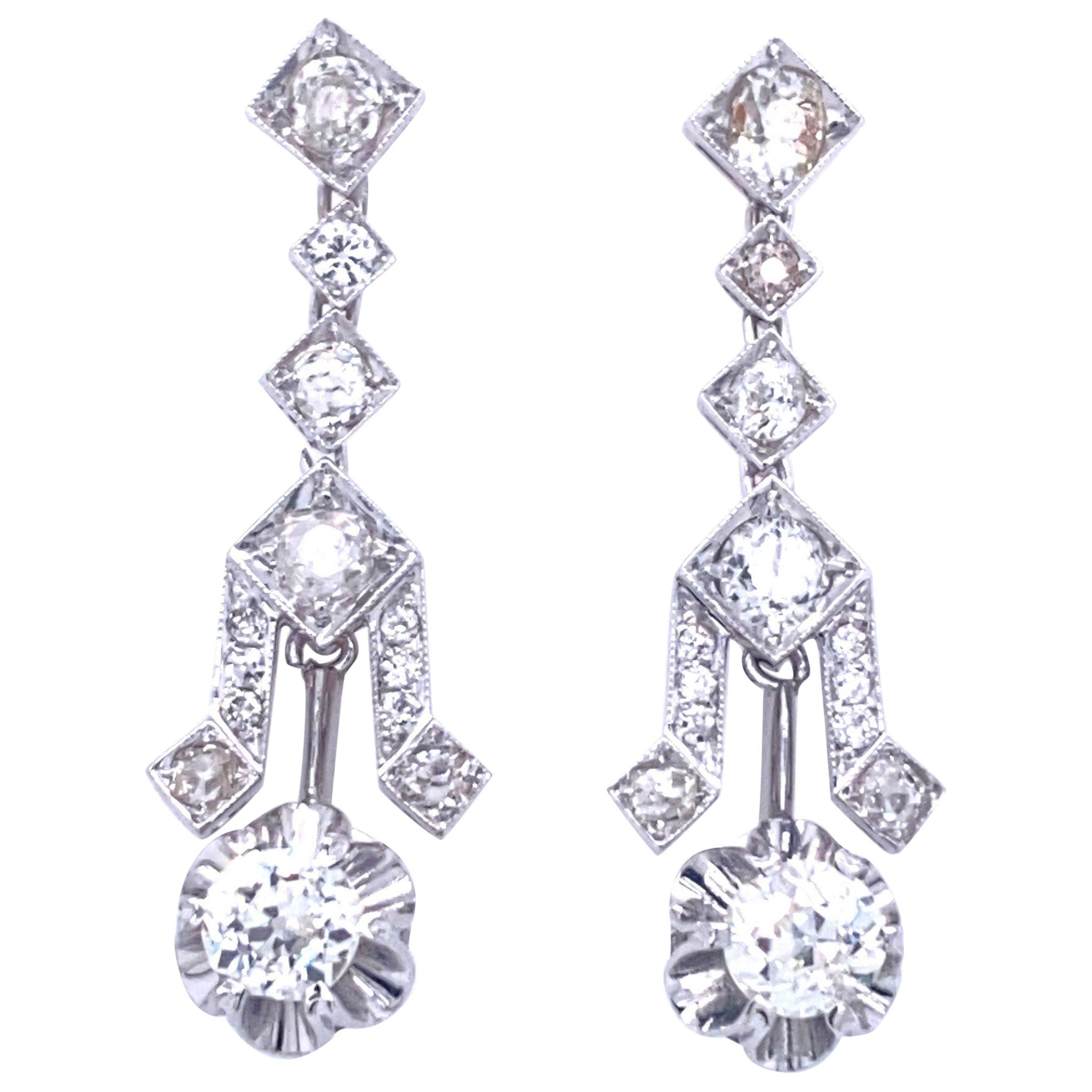 Art Deco 4 Carat Diamond Gold Drop Earrings
