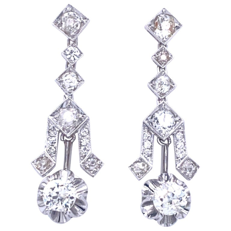 Art Deco 4 Carat Diamond Gold Drop Earrings For Sale
