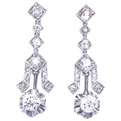 Art Deco 4 Carat Diamond Gold Drop Earrings