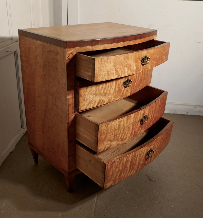 Art Deco 4 Drawer Bow Front Chest of Drawers in Bird's-Eye Maple For Sale 1