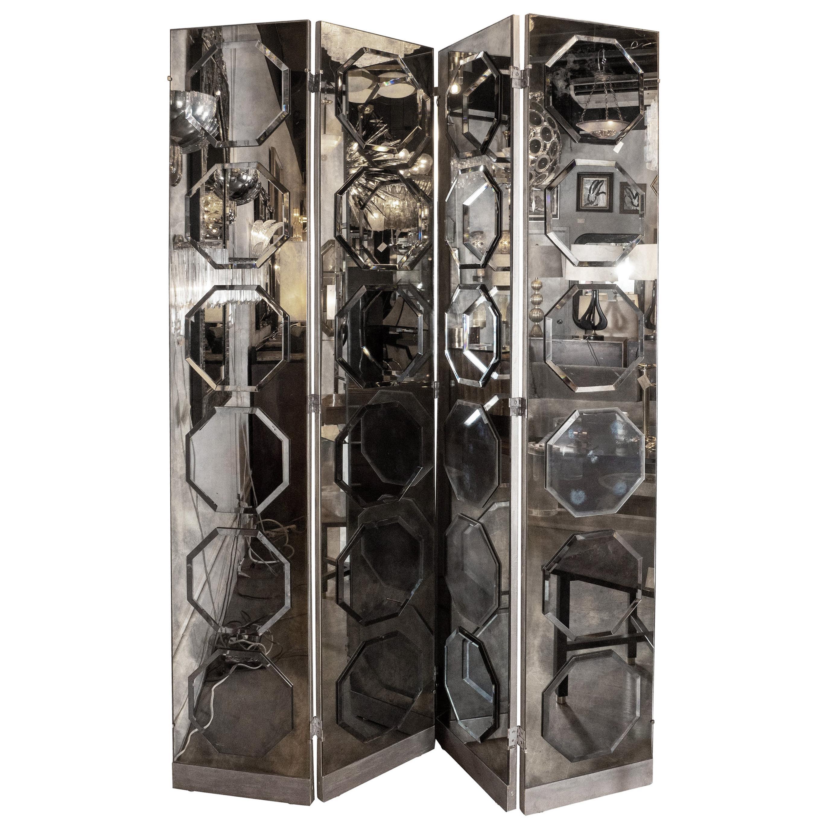 Art Deco 4-Panel Screen Smoked Antique Mirror Screen with Octagonal Appliqués