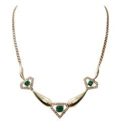 Art Deco 4.00 Carat Emerald and Diamond 18 Karat Gold Necklace