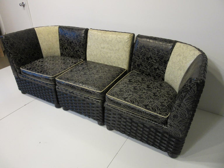 Art Deco / 1940s Wicker Upholstered 3 Piece, Loveseat or Sofa For Sale 5